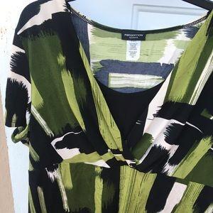 Green/ Black V-Neck Blouse